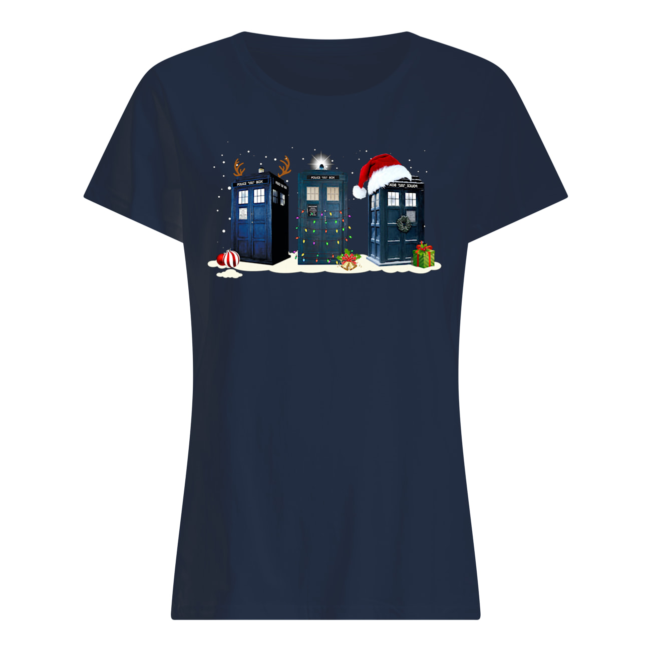Doctor who tardis police box christmas womens shirt