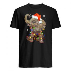 Elephant santa hat wrapped in christmas lights mens shirt