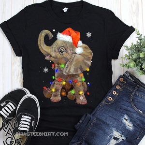 Elephant santa hat wrapped in christmas lights shirt