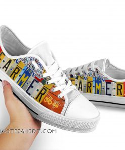 Farmer license plates low top sneakers
