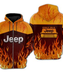 Fire jeep all over printed zip hoodie 1