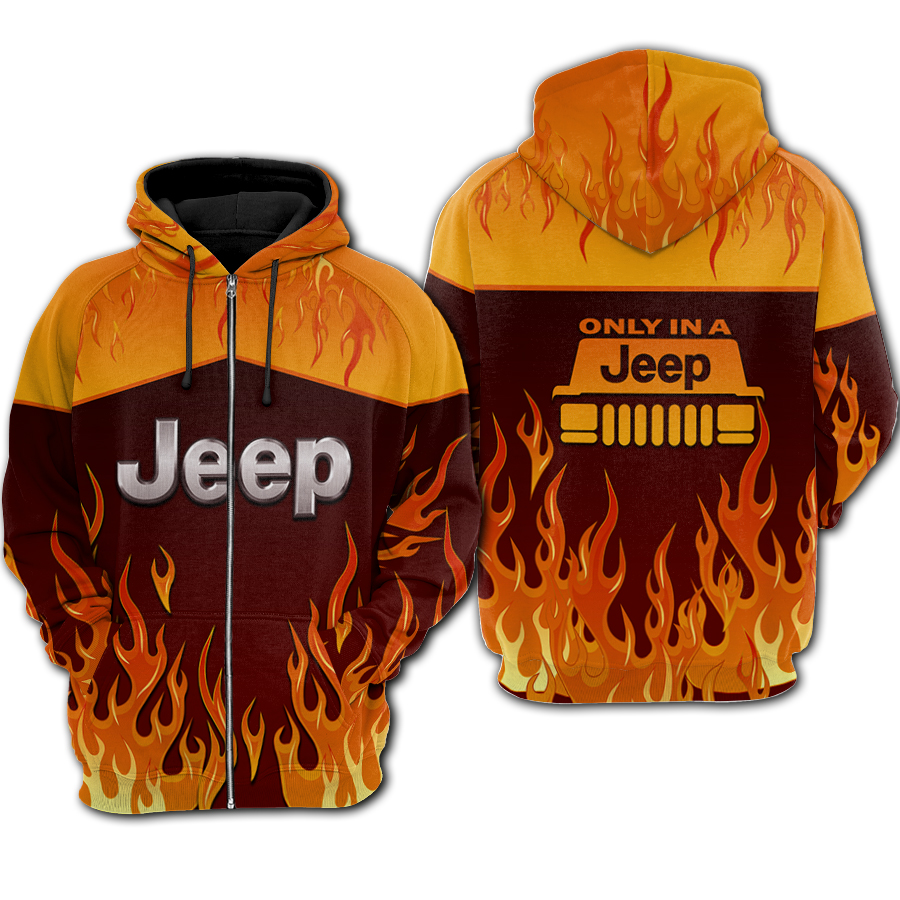 Fire jeep all over printed zip hoodie
