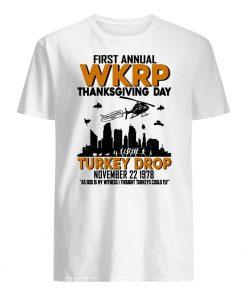 First annual wkrp thanksgiving day turkey drop november 22 1978 mens shirt