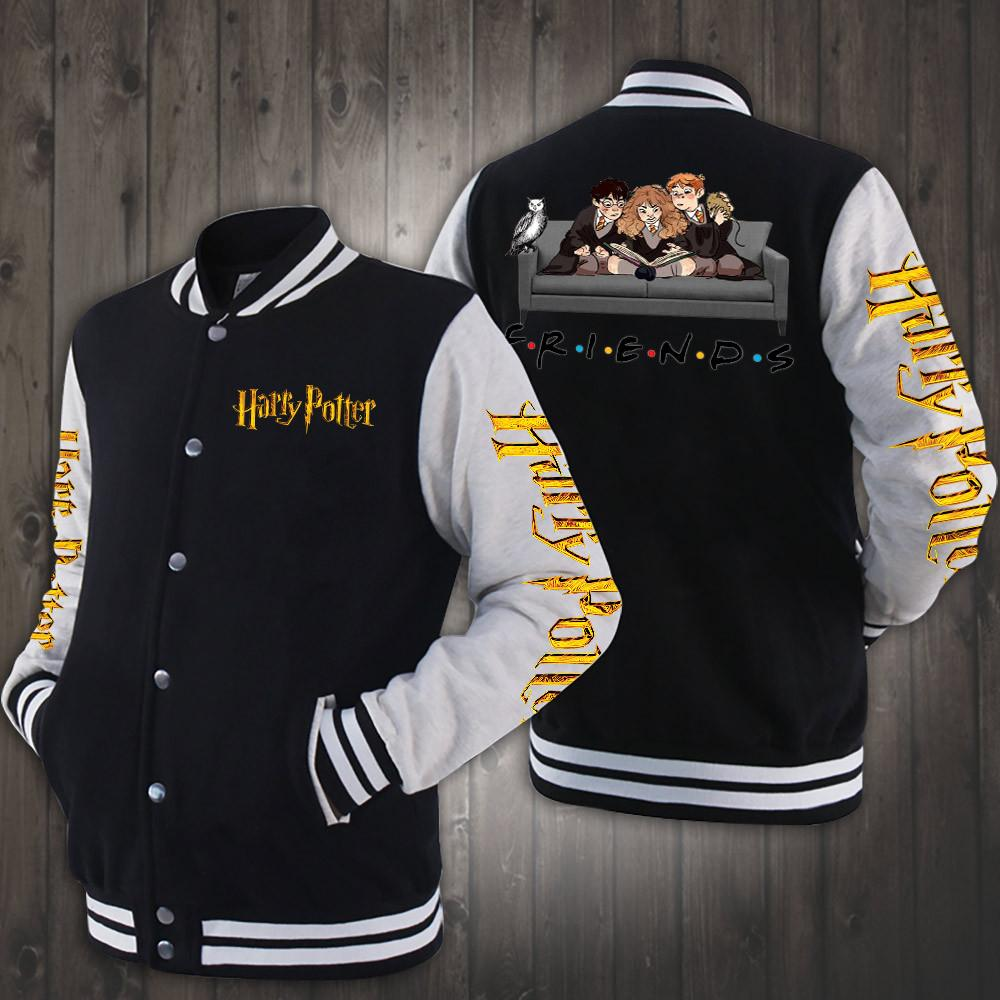 Friend tv show harry potter characters baseball jacket - black