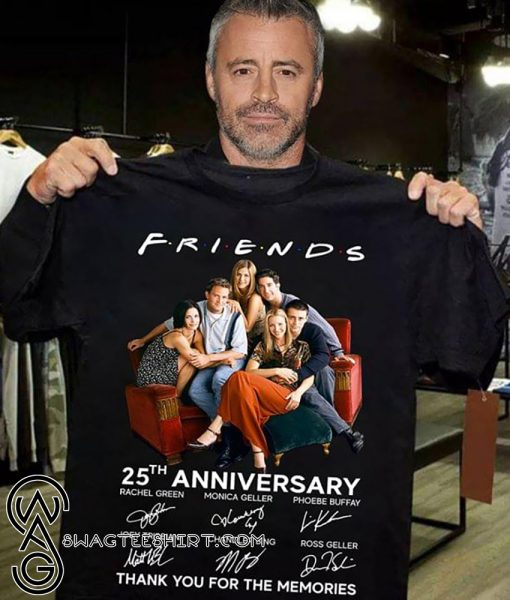 Friends tv show 25th anniversary signatures thank you for the memories shirt