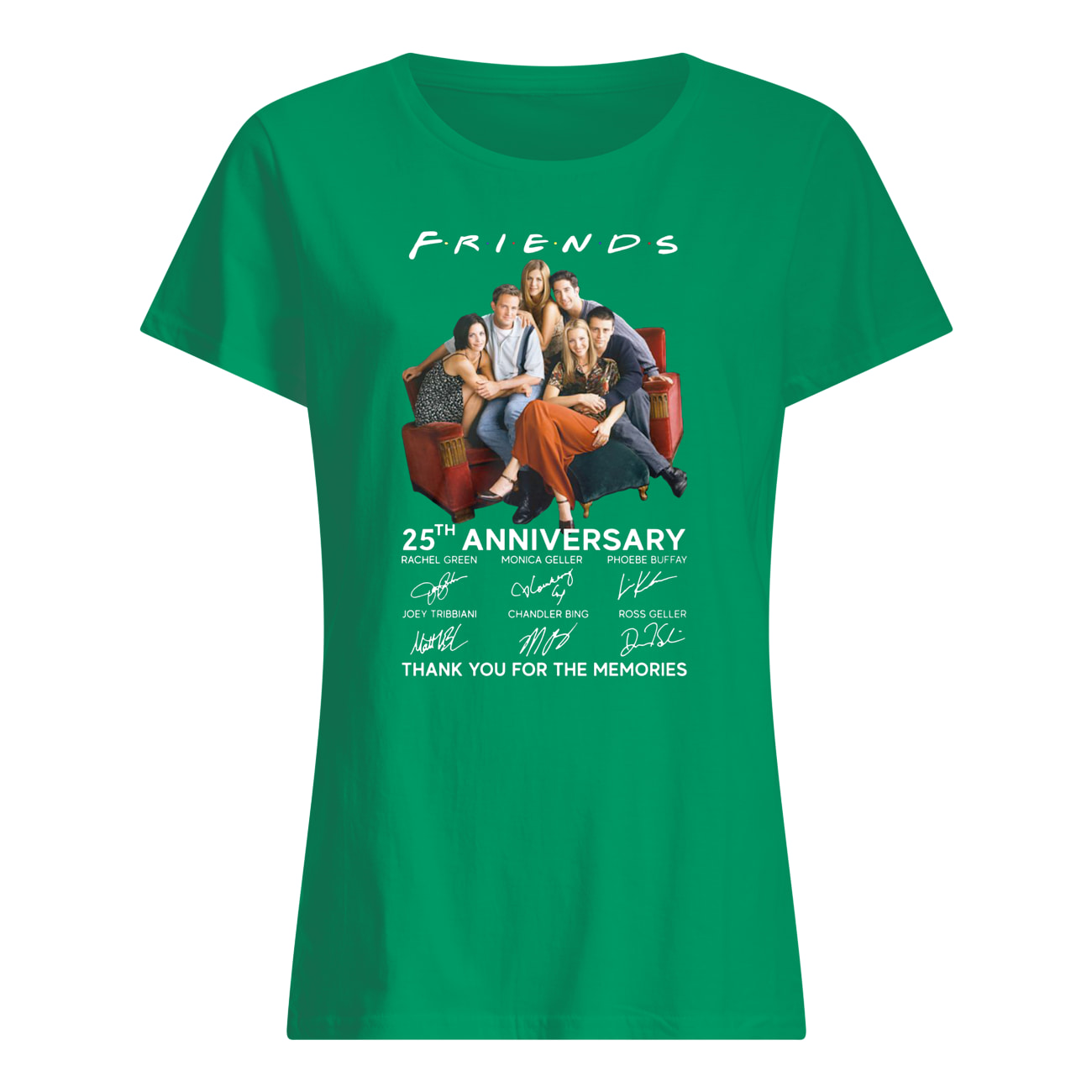 Friends tv show 25th anniversary signatures thank you for the memories womens shirt