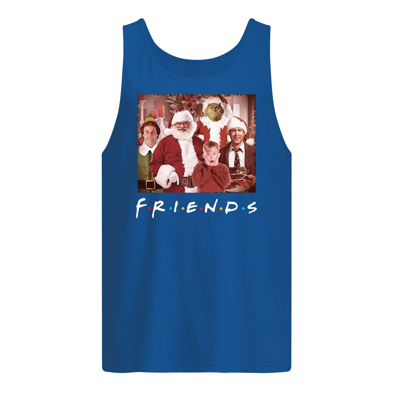 Friends tv show christmas movie characters tank top