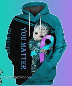 Groot hug suicide prevention awareness ribbon all over print hoodie