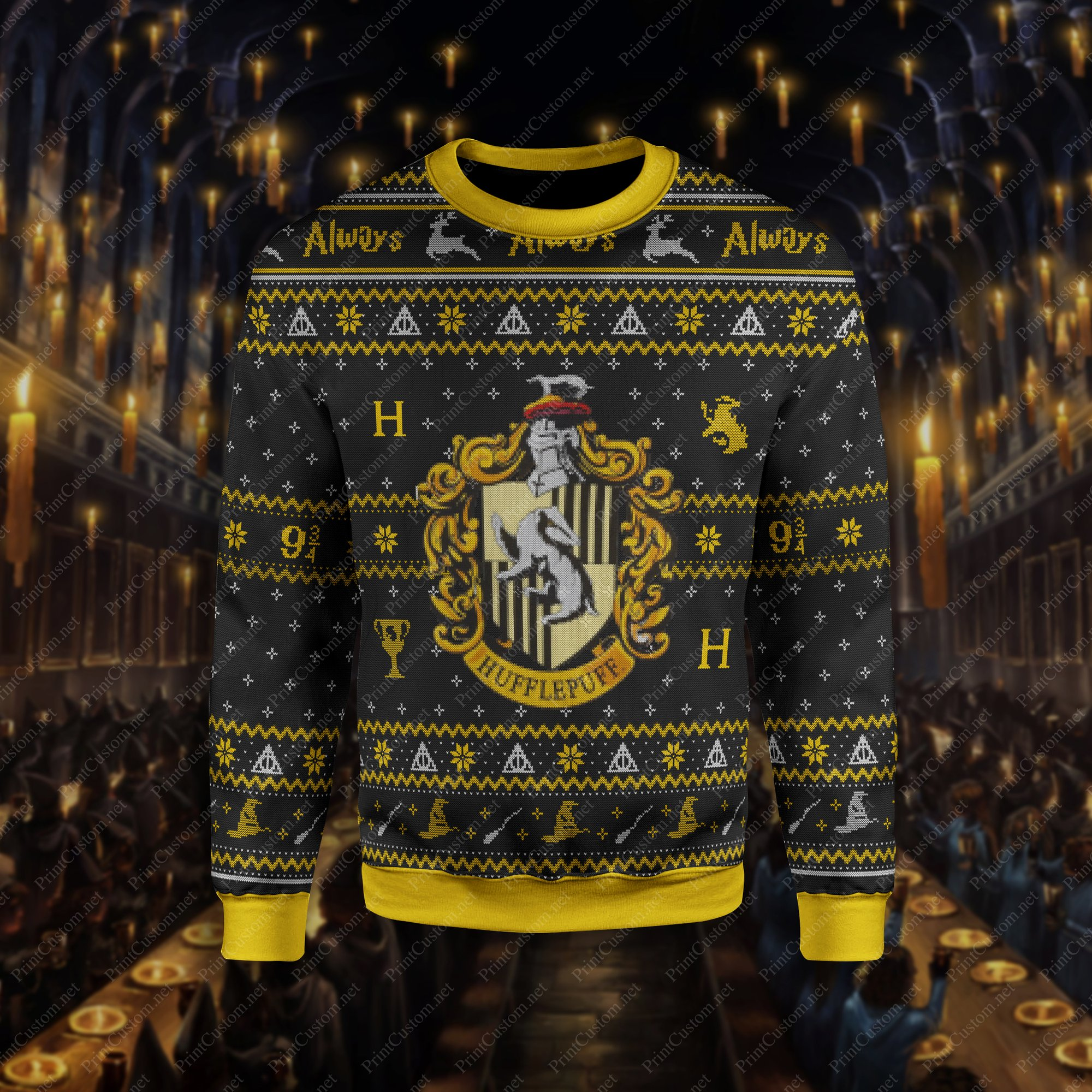 Harry potter hufflepuff ugly christmas sweater 1