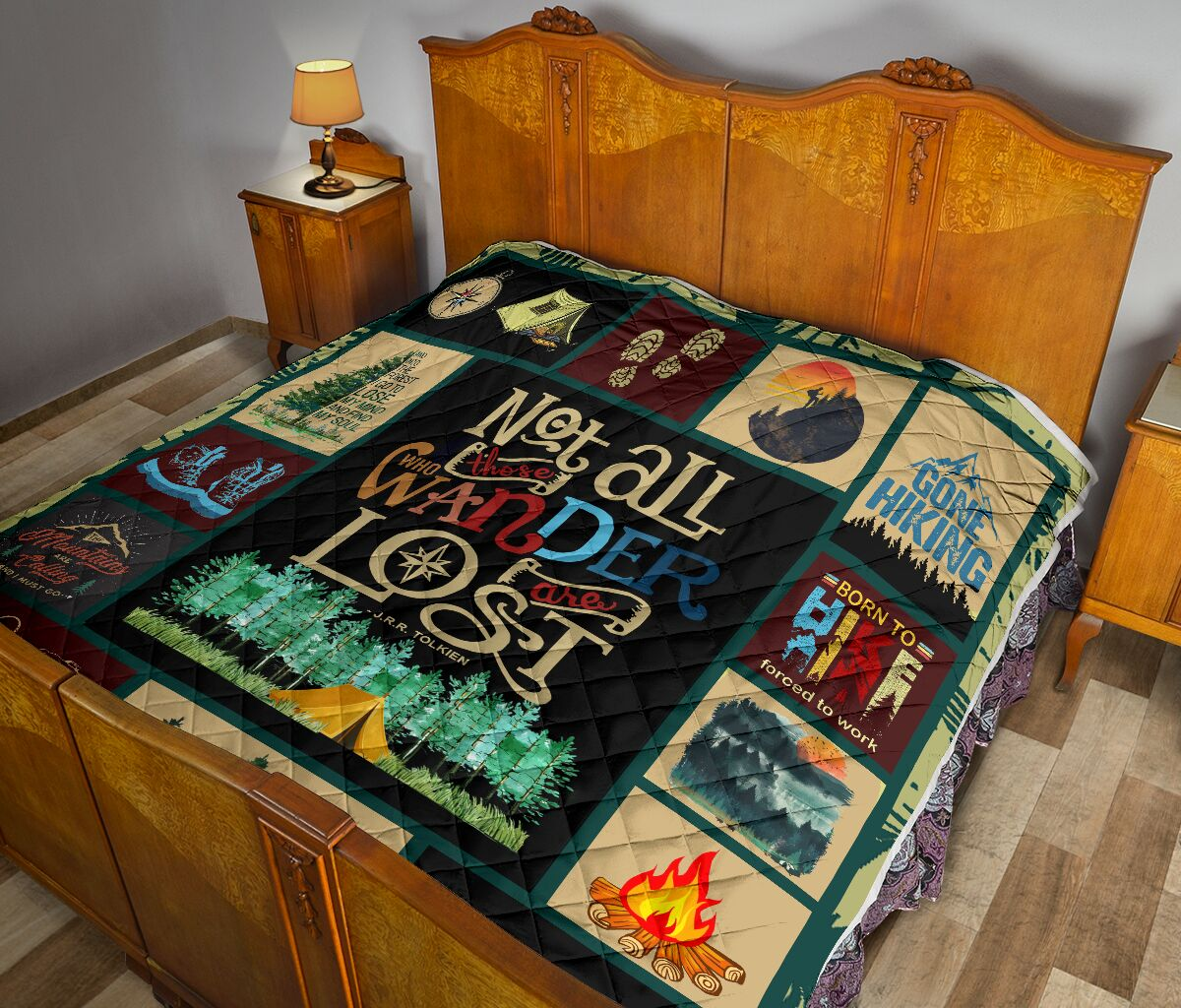 Hiking not all those who wander are lost quilt 1