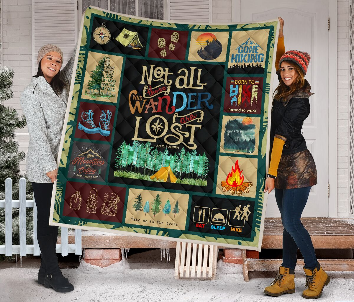 Hiking not all those who wander are lost quilt 4