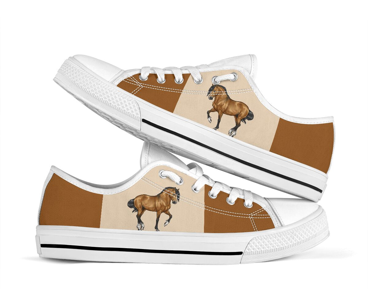 Horse low top canvas sneakers 1