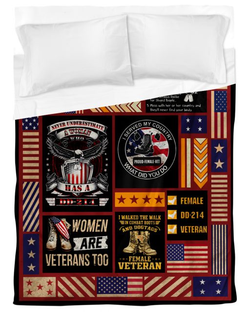 I served my country what did you do proud female veteran fleece blanket 4