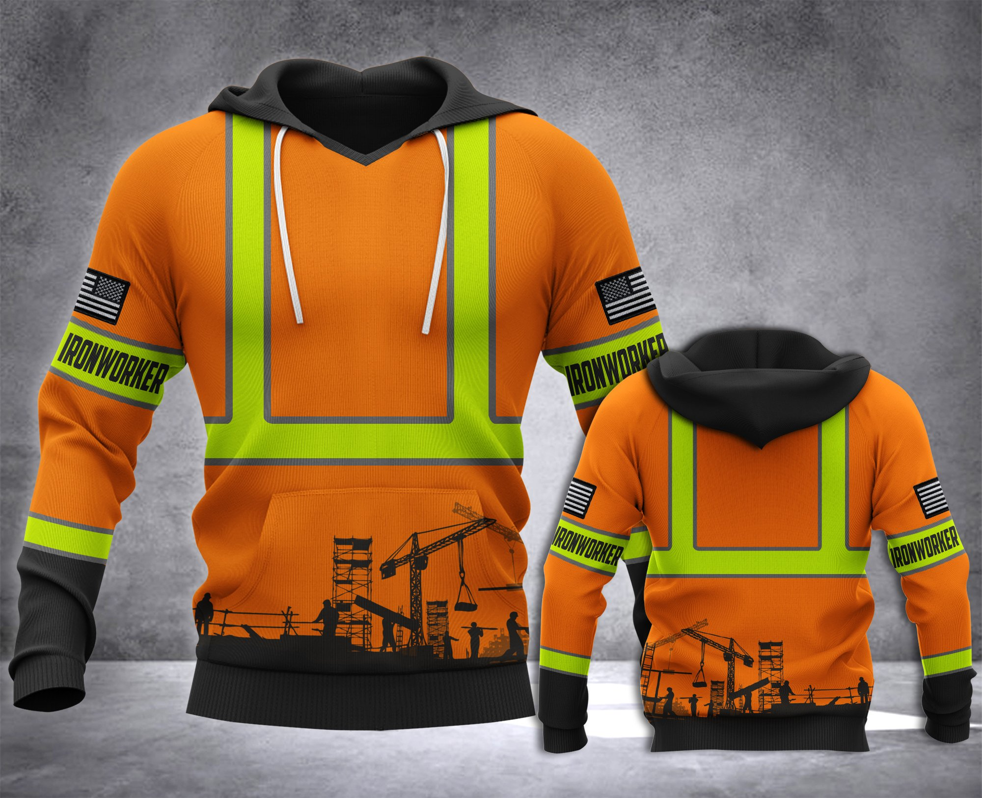 Ironworker all over printed hoodie 4