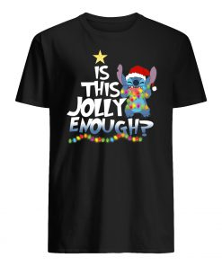 Is this jolly enough stitch christmas light mens shirt