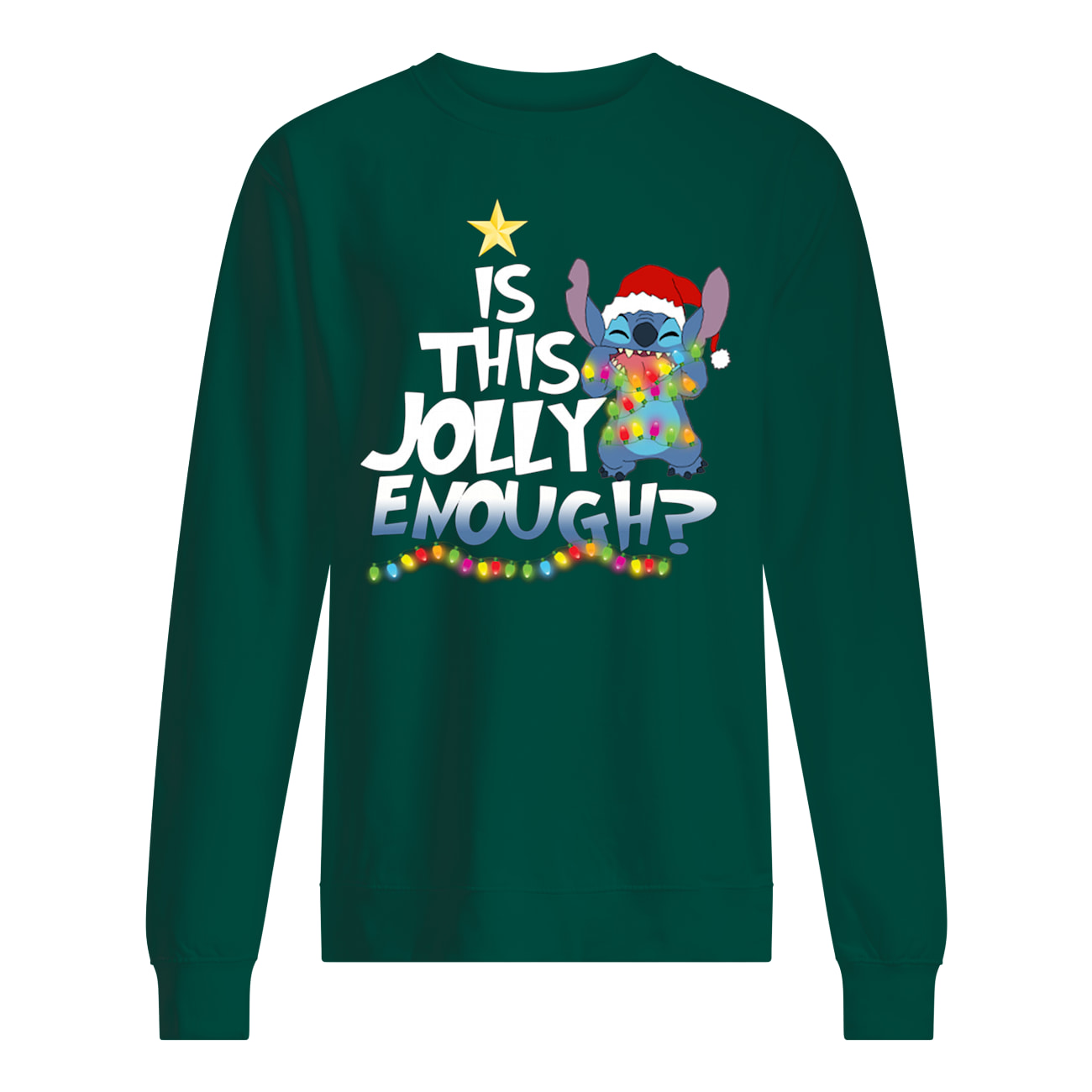 Is this jolly enough stitch christmas light sweatshirt