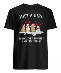 Just a girl who loves bunnies and christmas mens shirt