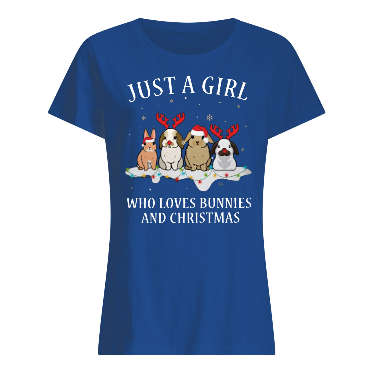 Just a girl who loves bunnies and christmas womens shirt