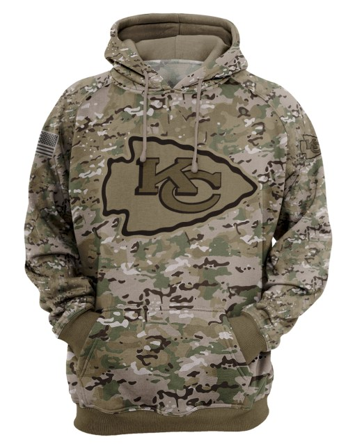 Kansas city chiefs camo style all over print hoodie 1