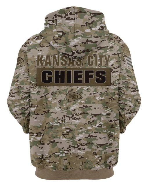 Kansas city chiefs camo style all over print hoodie - back