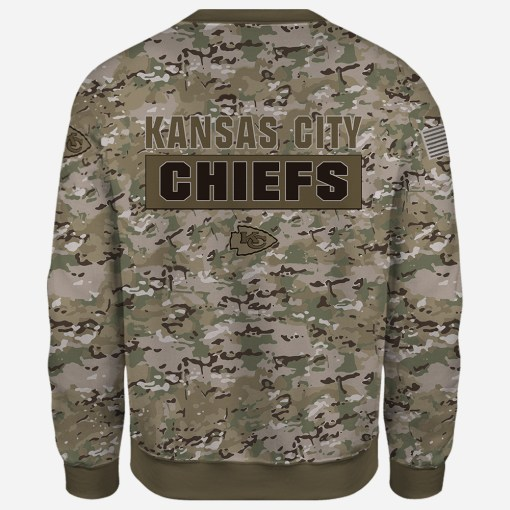 Kansas city chiefs camo style all over print sweatshirt - back