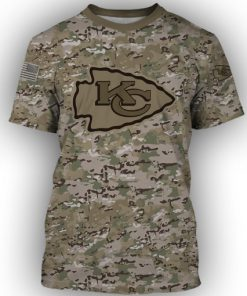 Kansas city chiefs camo style all over print tshirt