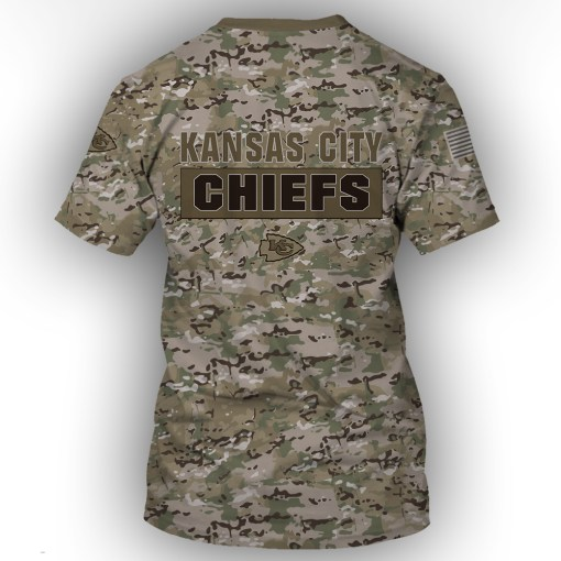 Kansas city chiefs camo style all over print tshirt - back