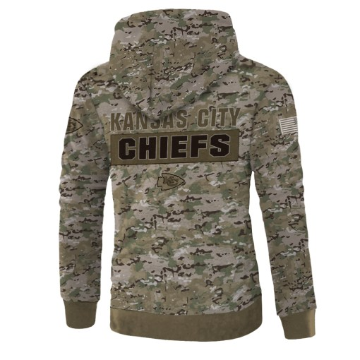 Kansas city chiefs camo style all over print zip hoodie - back