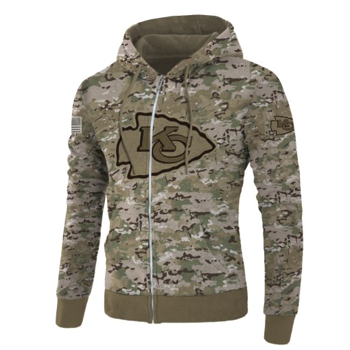 Kansas city chiefs camo style all over print zip hoodie