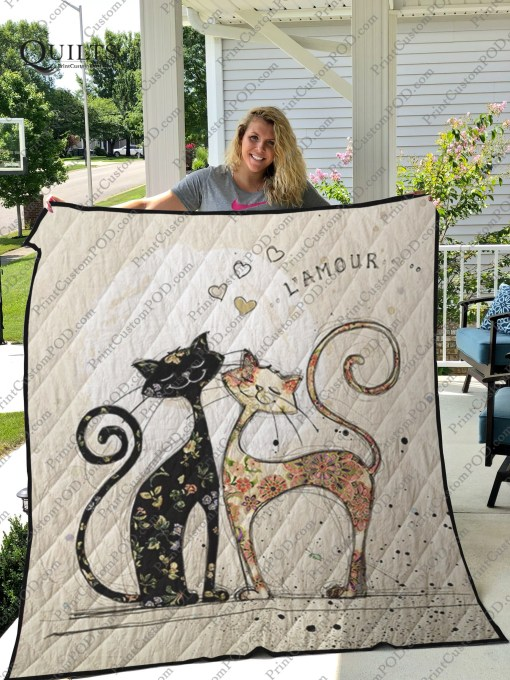 Love l'amour two cats quilt 1