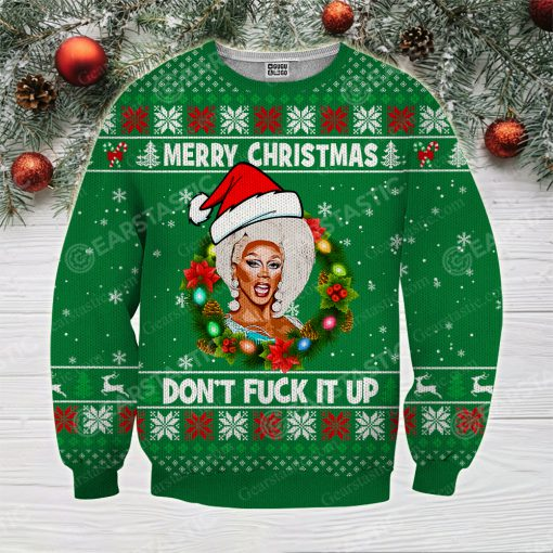 Merry christmas don't fuck it up rupaul's drag race ugly christmas sweater 3