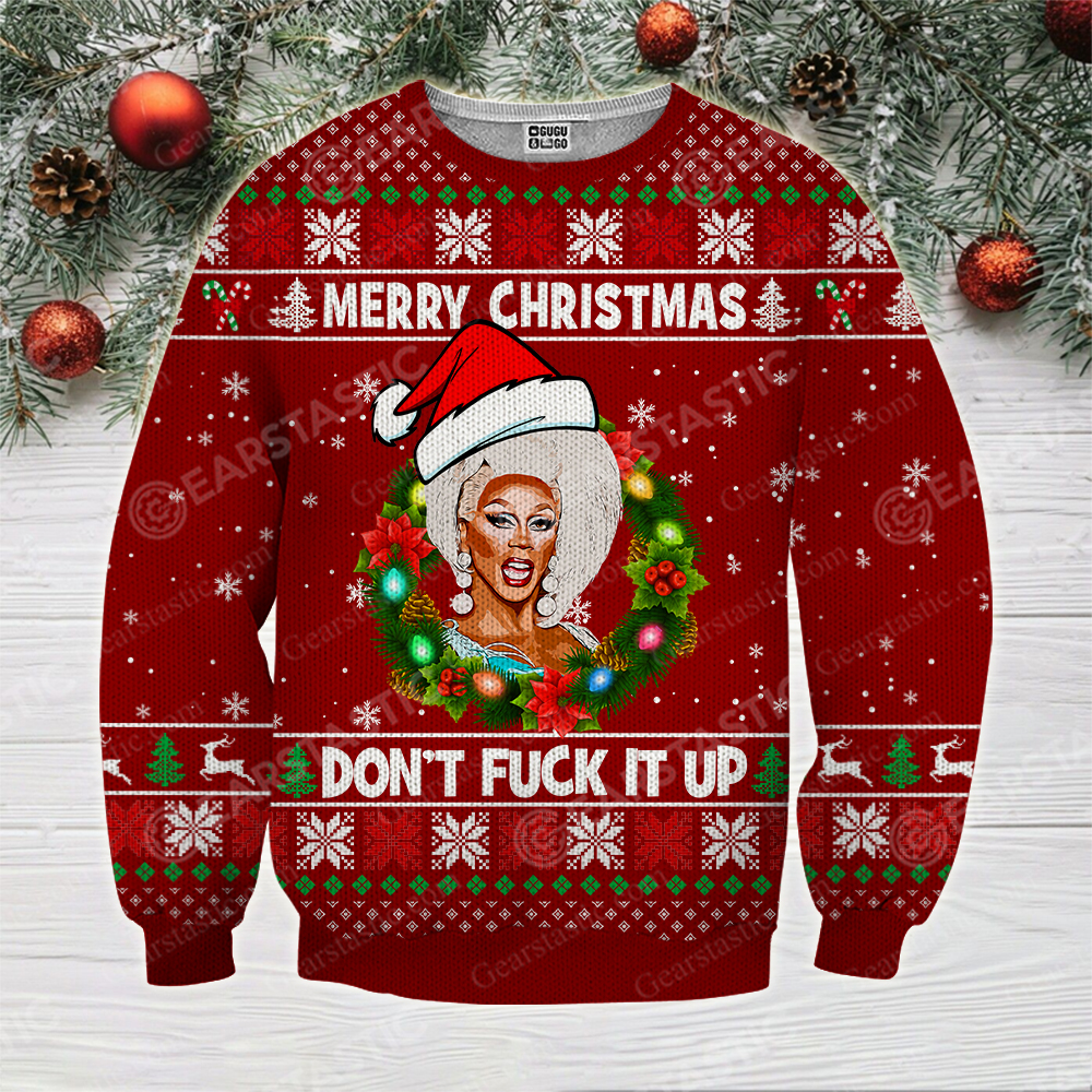 Merry christmas don't fuck it up rupaul's drag race ugly christmas sweater 4
