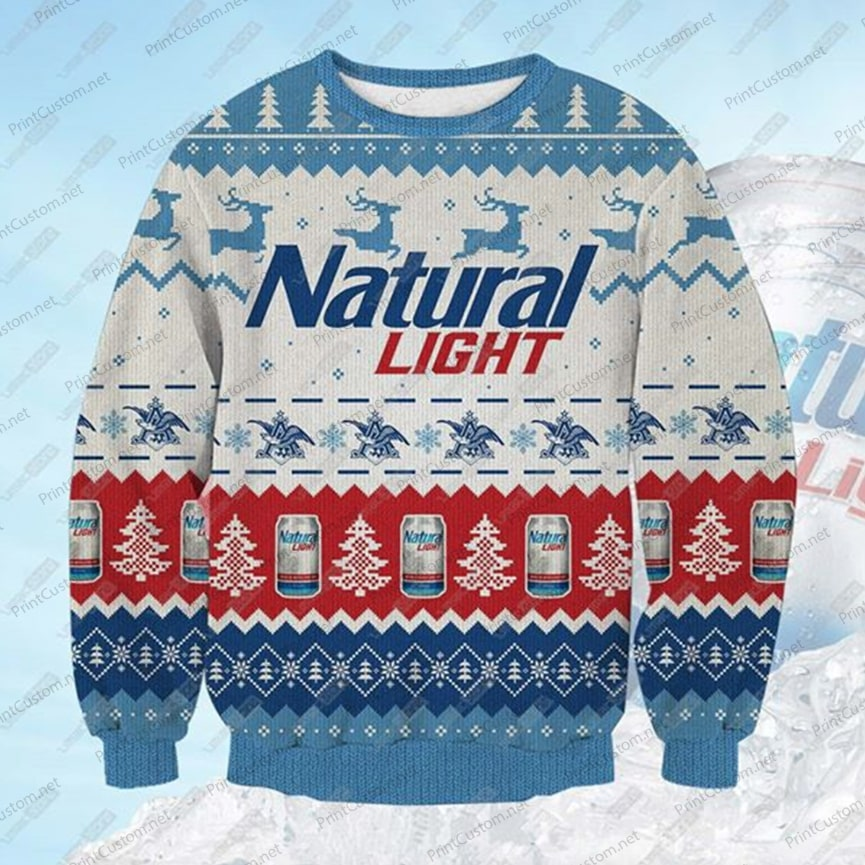 Natural light beer full printing ugly christmas sweater 3