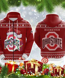 Ohio state buckeyes all over print ugly christmas zip hoodie
