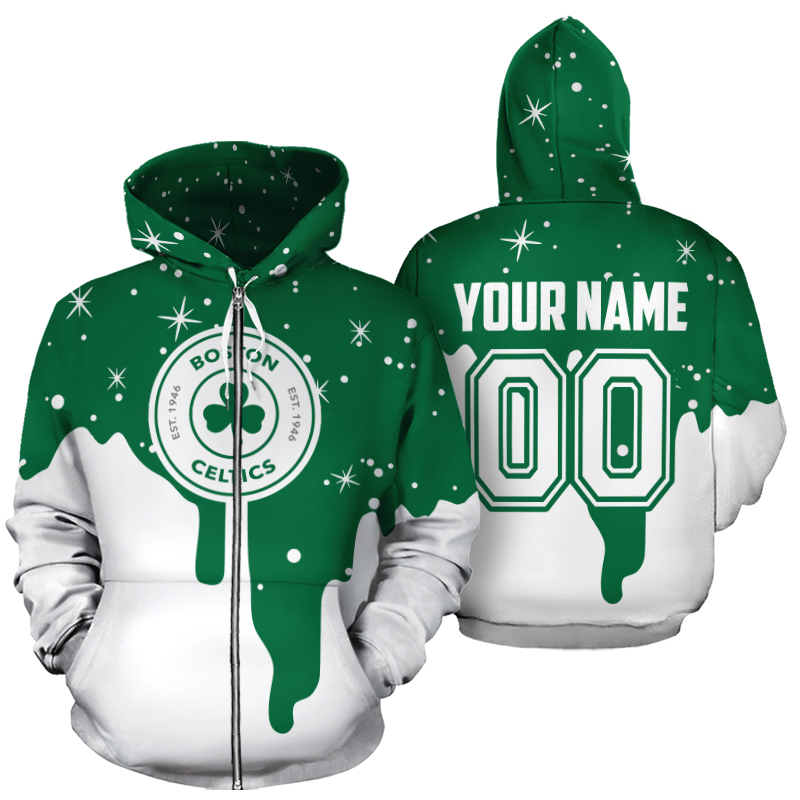 Personalized name and number boston celtics all over print zip hoodie