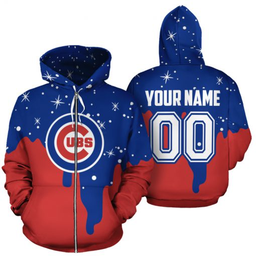 Personalized name and number chicago cubs all over print zip hoodie 1