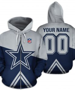 Personalized name and number dallas cowboys all over print zip hoodie