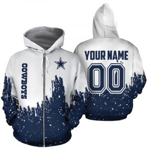 Personalized name and number dallas cowboys galaxy all over print zip hoodie 1
