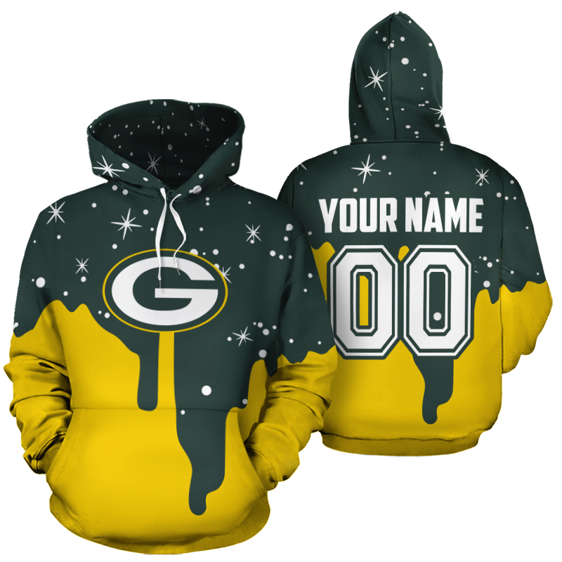 Personalized name and number green bay packers all over print hoodie