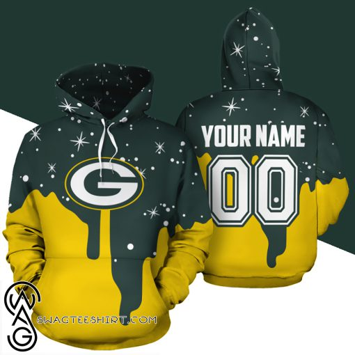 Personalized name and number green bay packers all over print shirt