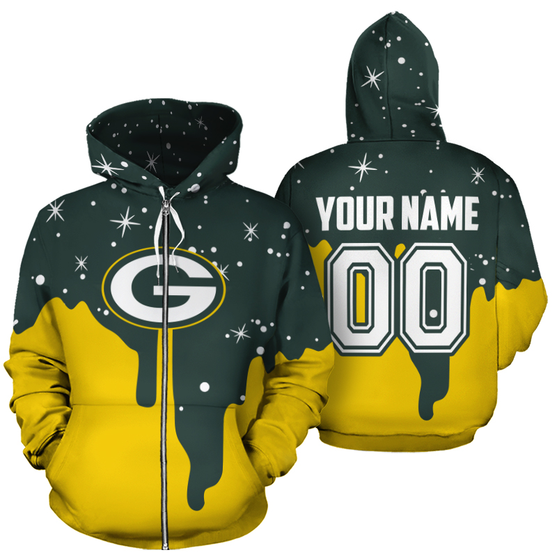Personalized name and number green bay packers all over print zip hoodie