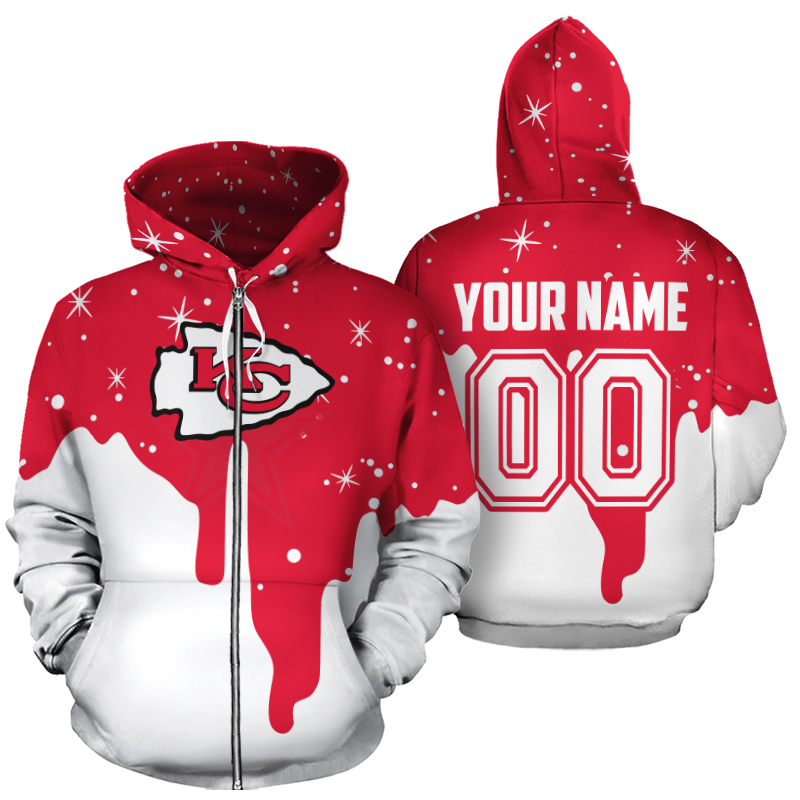 Personalized name and number kansas city chiefs all over print zip hoodie