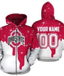 Personalized name and number ohio state buckeyes all over print zip hoodie 1