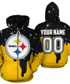 Personalized name and number pittsburgh steelers all over print zip hoodie 1