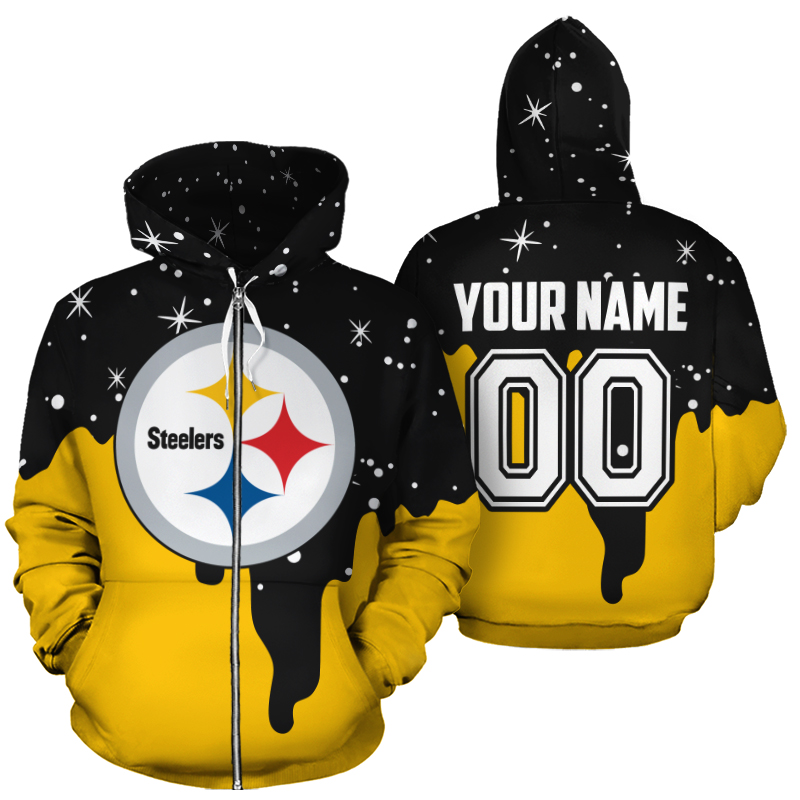 Personalized name and number pittsburgh steelers all over print zip hoodie
