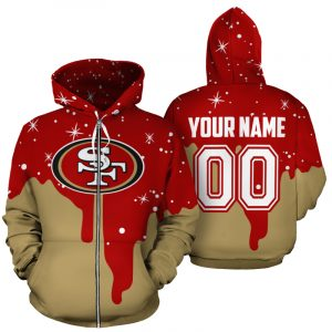Personalized name and number san francisco 49ers all over printed zip hoodie 1