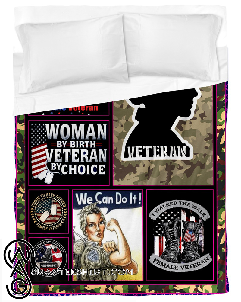 Proud female veteran fleece blanket