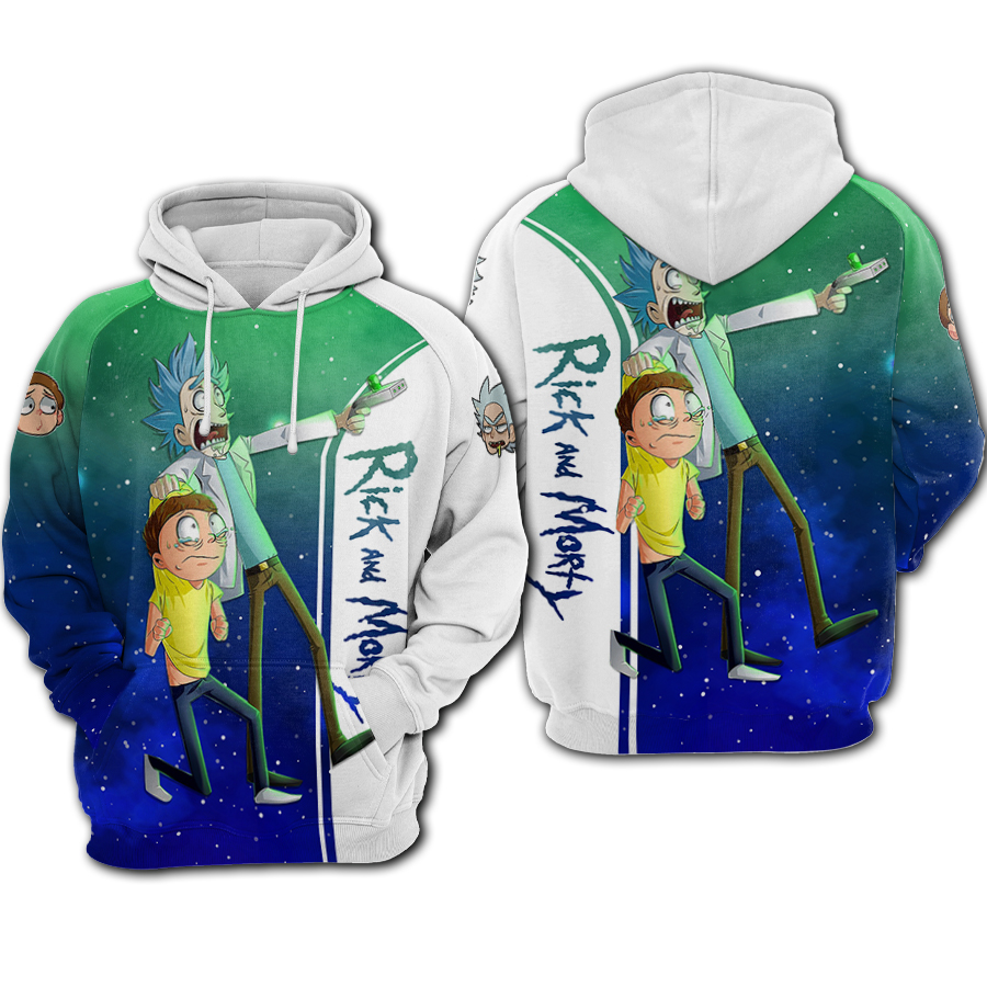 Rick and morty galaxy all over printed hoodie 1