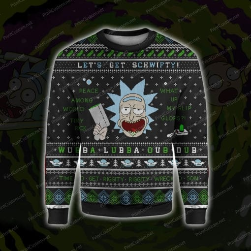Rick and morty let's get schwifty ugly christmas sweater 1