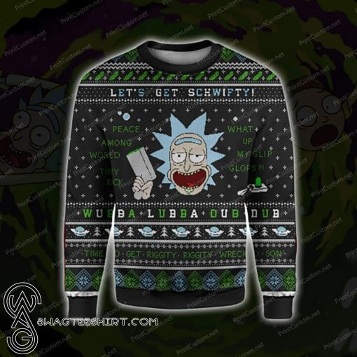 Rick and morty let's get schwifty ugly christmas sweater
